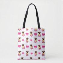 Ballerina Pug and Hearts Tote Bag