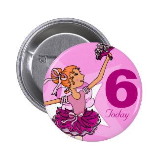 Ballerina purple pink ginger girl birthday button 2 inch round button