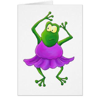 Ballerina Purple Tutu Dancing Frog Greeting Card