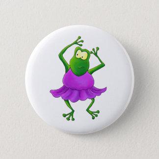 Ballerina Purple Tutu Dancing Frog Pinback Button