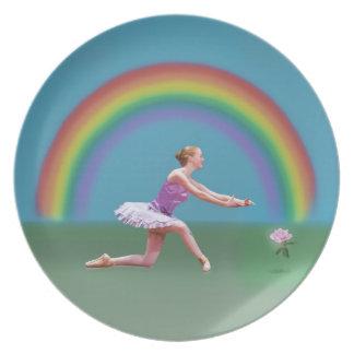 Ballerina, Rainbow, and Rose Melamine Plate