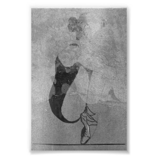 Ballerina Red Hair Woman Body Silver Black Gray Poster