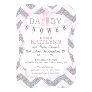 Ballerina Shoes and Chevron Print Baby Shower Card