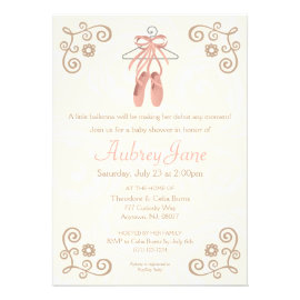 Ballerina Shoes Baby Shower Invitation Cards
