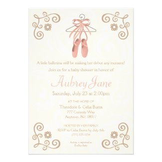 Ballerina Shoes Baby Shower Invitation Cards for Tutu / Ballerina Themed Baby Shower