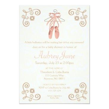 Valentines Themed Ballerina Shoes Ballet Baby Girl Shower Invitation