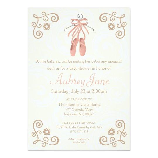 Ballerina shoes ballet baby girl shower invitation zazzle ballerina shoes ballet baby girl shower invitation filmwisefo