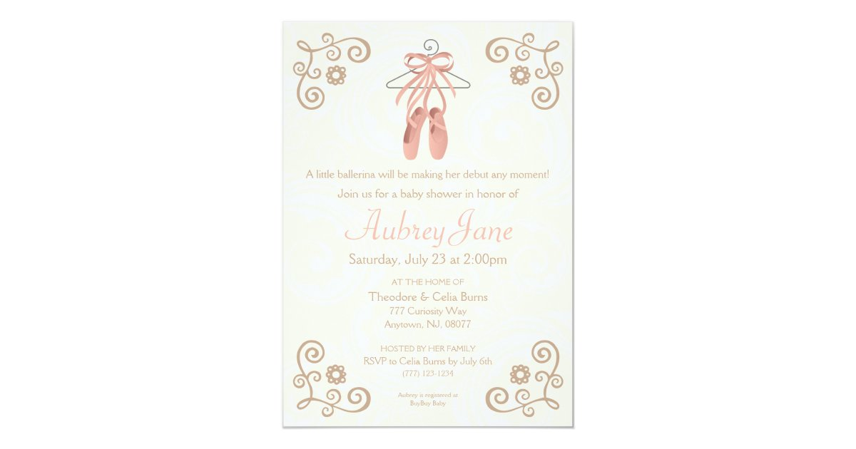 ballerina shoes ballet baby girl shower invitation zazzle