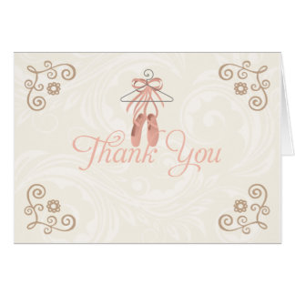 Ballerina Shoes Thank You Notecards Card