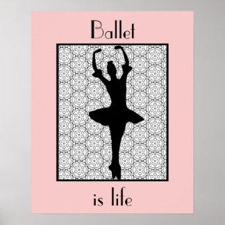 Ballerina Silhouette Ballet Is Life Poster