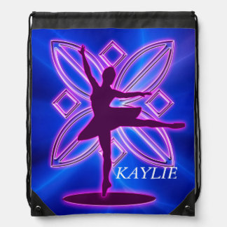 Ballerina silhouette dancing drawstring backpack
