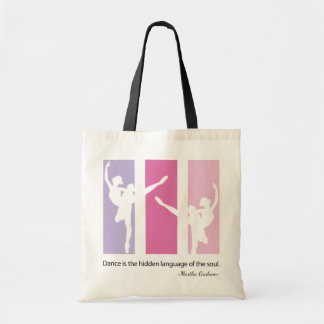 Ballerina Silhouette in Pink Budget Tote Bag