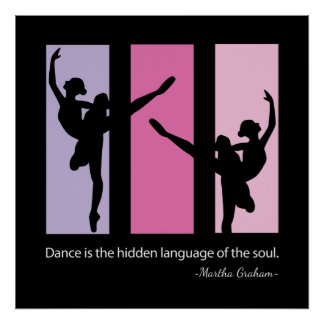 Ballerina Silhouette in Pink Posters