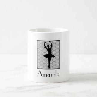 Ballerina Silhouette on a Heart Mandala Pattern Coffee Mug