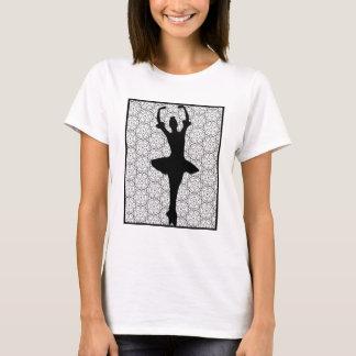 Ballerina Silhouette on a Heart Mandala Pattern T-Shirt