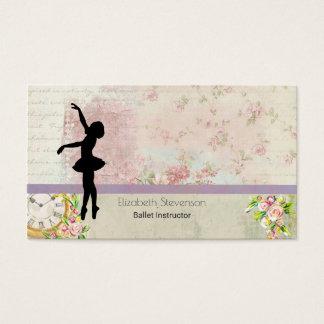 Ballerina Silhouette on Elegant Vintage Pattern Business Card