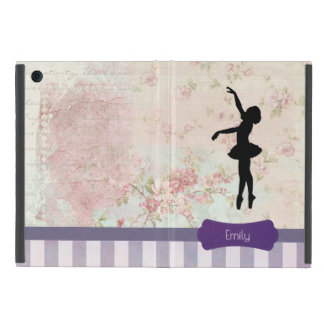 Ballerina Silhouette on Elegant Vintage Pattern iPad Mini Case