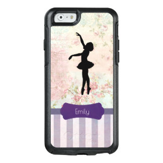 Ballerina Silhouette on Elegant Vintage Pattern OtterBox iPhone 6/6s Case