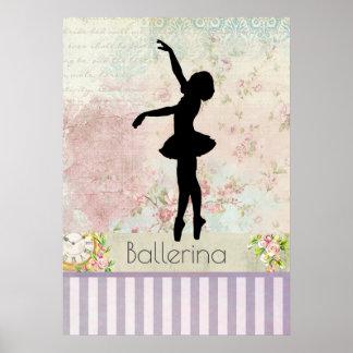 Ballerina Silhouette on Elegant Vintage Pattern Poster
