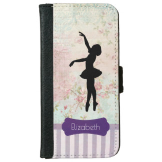Ballerina Silhouette on Elegant Vintage Pattern Wallet Phone Case For iPhone 6/6s