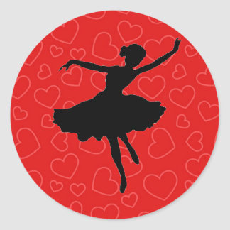 Ballerina Silhouette on Red Hearts Sticker