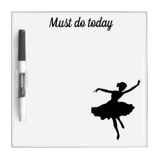 Ballerina Silhouette on White To Do Today Dry Erase Board
