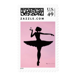 Ballerina Sillhouette Pink Postage