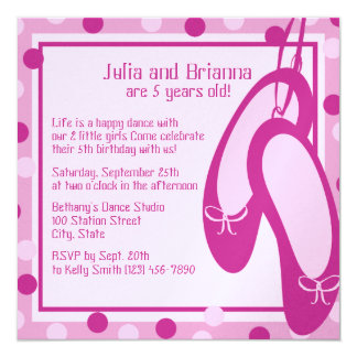 Ballerina Slippers/ Birthday 5.25x5.25 Square Paper Invitation Card