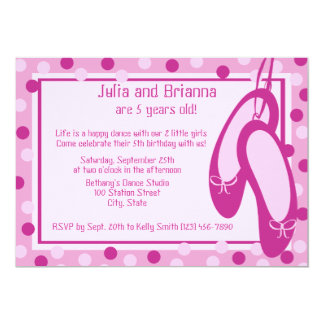 Ballerina Slippers/ Birthday 5x7 Paper Invitation Card