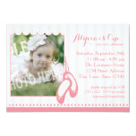 Ballerina Slippers First Birthday with Photo 5x7 Paper Invitation Card
