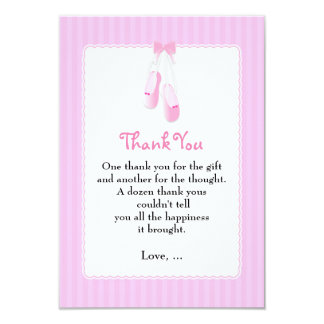 Ballerina Slippers Pink Ballet Thank You Cards
