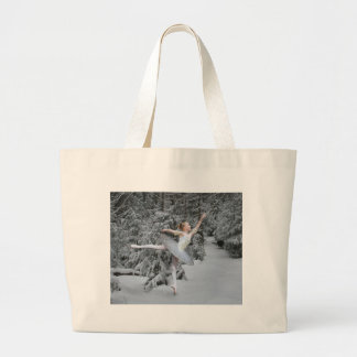 Ballerina Snow Dancer Large Tote Bag
