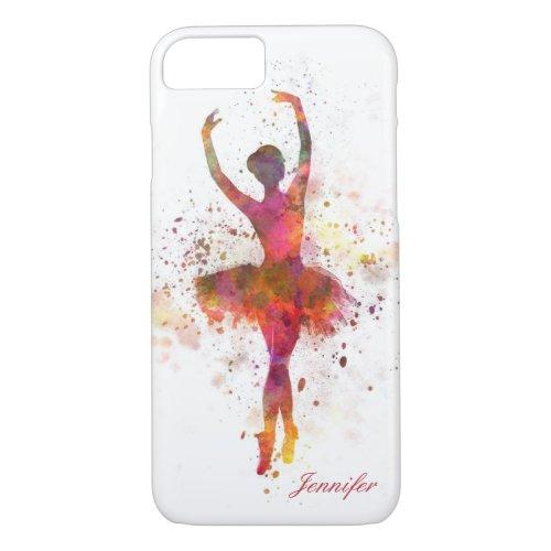 Ballerina Splatter Art Personalized Name | Ballet Phone Case