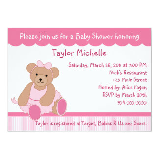 Ballerina Teddy Bear Baby Shower Invitation