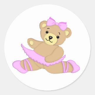 Ballerina Teddy Bear Classic Round Sticker