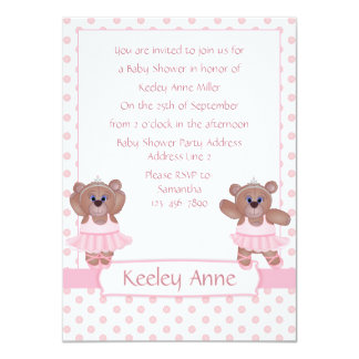 Ballerina Teddy Bear in Pink Baby Shower Invites