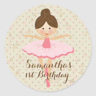 Ballerina Themed Party Classic Round Sticker