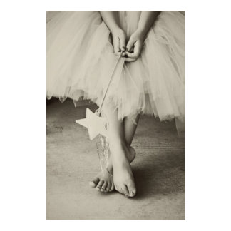 Ballerina Toes (Black and white) Poster