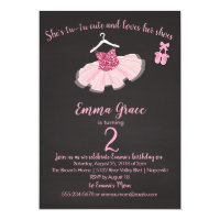Ballerina Tutu and Shoes Birthday Girl Invitation