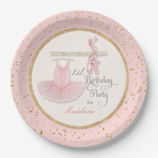 Ballerina Tutu Baby Girl First 1st Birthday Party Paper Plate