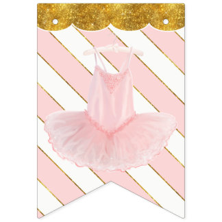 Ballerina Tutu Girl Baby Shower Gold Party Decor Bunting Flags