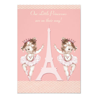 Ballerina Twins Eiffel Tower Chevrons Baby Shower Card
