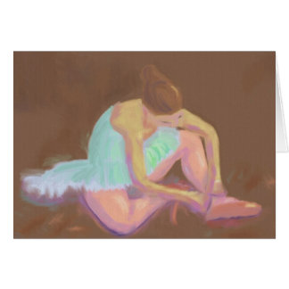 Ballerina Tying her Shoes, Greeting Card