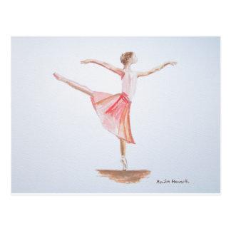 Ballerina watercolour painting postcard