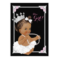 Ballerina White Tutu Pink Pearl Baby Shower Card