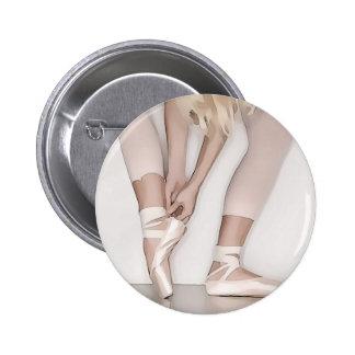 ballerina with long blonde hair pinback button