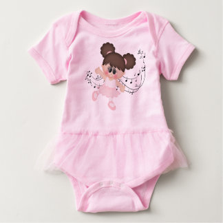 Ballerina with Musical Notes Baby Bodysuit