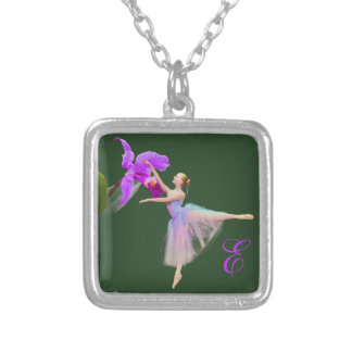 Ballerina with Orchid and Monogram Square Pendant Necklace