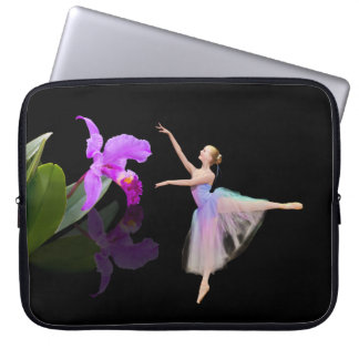 Ballerina with Orchid Flower Computer Sleeve