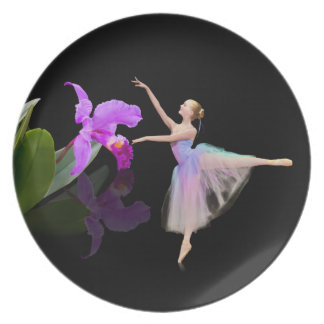 Ballerina with Orchid on Black Plate